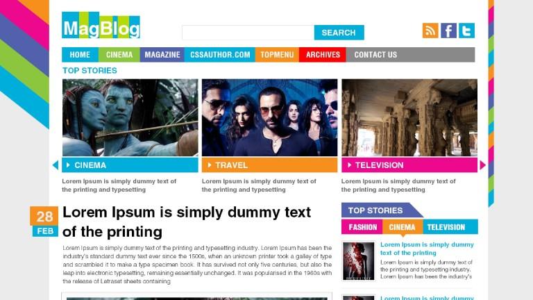 Шаблон цветной для блога или кино